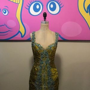 Vintage Lime green Blue Lace Silk Satin Gown